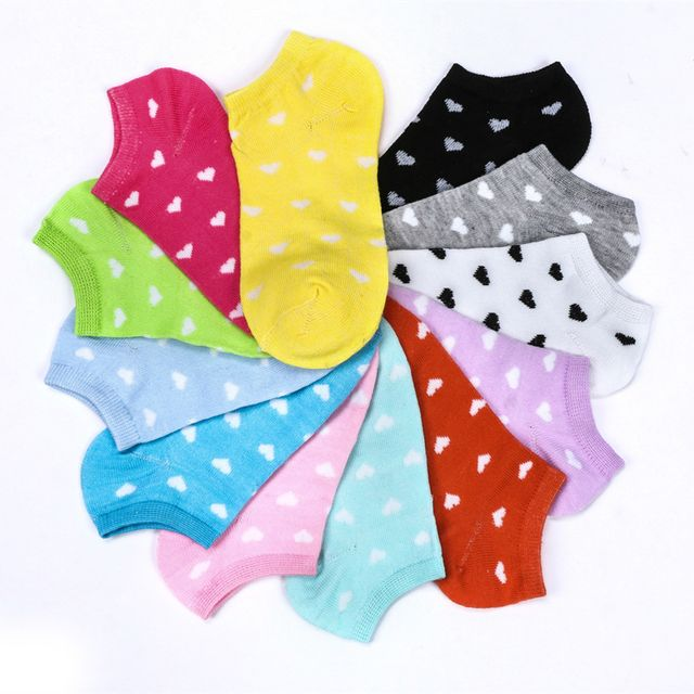 5pairs Candy Color Women Socks Classic Spring Summer Autumn Multi Colors Love Heart Pattern Comfortable Boat Sock