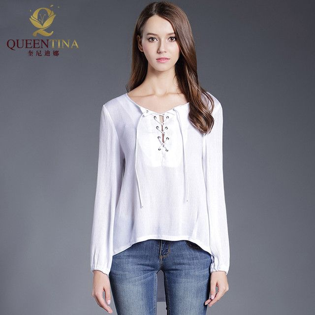 Women Fashion White Blouse Shirt Female Linen V-neck Long Sleeve Chiffon Tops Sexy Bandage Blusas Feminina Casual Loose Shirts