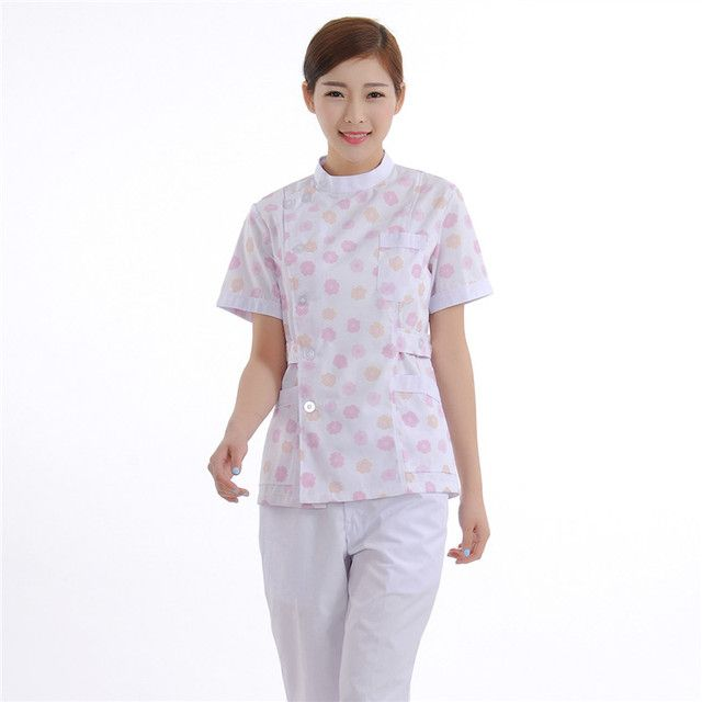 New Women Medical Scrub Sets Nurse Hospital Uniforms Dental Clinic Beauty Salon Short Sleeve Flower Printing Clothes