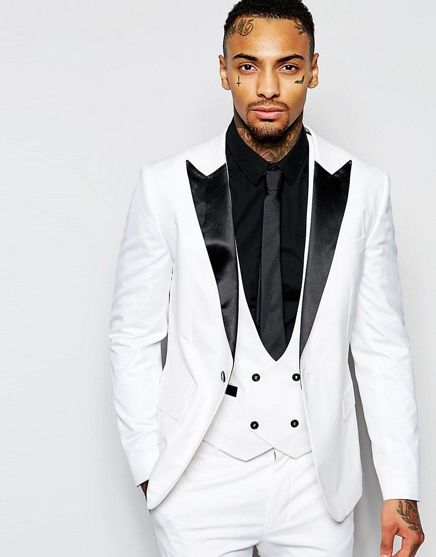 New Groomsmen  Black Lapel Groom Tuxedos White/Red Men Suits Wedding Best Man Blazer (Jacket+Pants+Tie+Vest)
