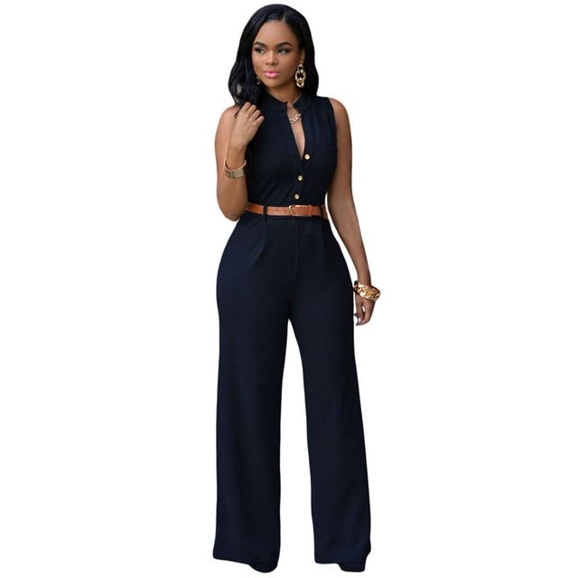 11 Colors Fashion Women Jumpsuit 2016 Summer Overalls Belted Wide Leg Jumpsuit Plus Size macacao long pant Elegant Jumpsuits