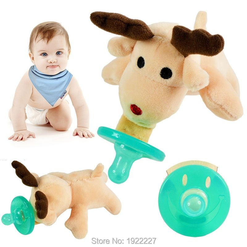 High-Quality Food-Grade Baby Pacifier Nipples Teat Cartoon Cute Infant Silicone Pacifiers with Plush Animal Non-Toxic Tool Safe