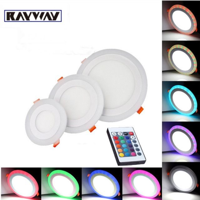 new design white+rgb 3 models led panel light RGBW ultra thin recessed acrylic 6w 9w 16w 24w led panel lamps ceiling lights