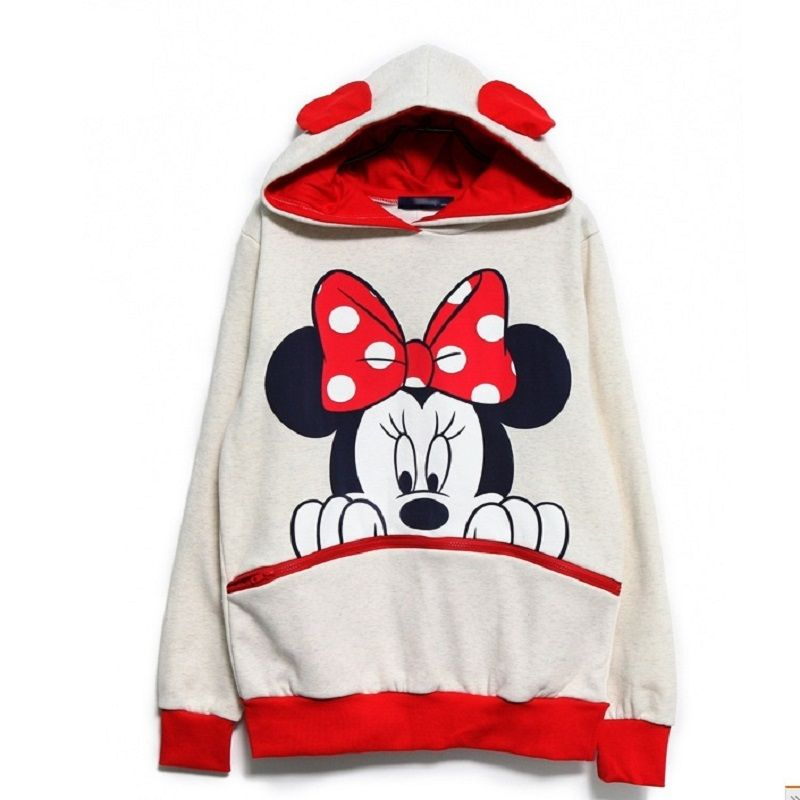 Mickey Printed Women Fleece Hoodies Fashion Cartoon Sweatshirt with Ears Femme Loose Pullover Costumes Plus Size