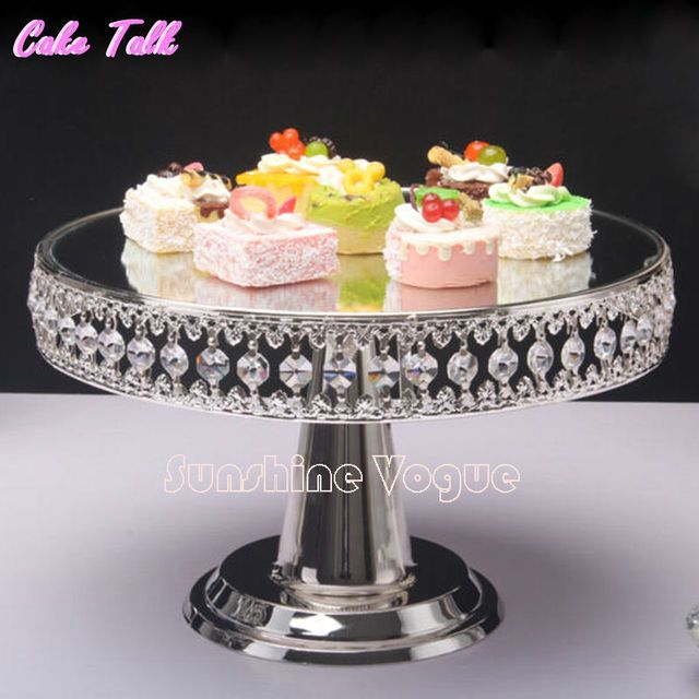 Crystal bead silver plated metal cake stand 12'' high Mirror surface wedding cake decorating tools baking tool dinnerware