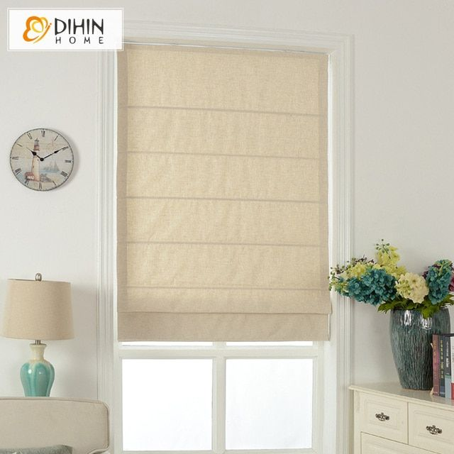 Included Curtains Modern Curtain Pure Beige Cotton/Linen Roman Curtain Blind Home Decor Window Drapes For Living Room