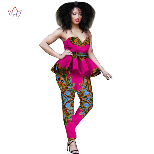 New Fashion African Dress Women 2 Piece Set Women Out Off Shoulder Sleeveless Dashiki Print Pants African Women Clothing WY645