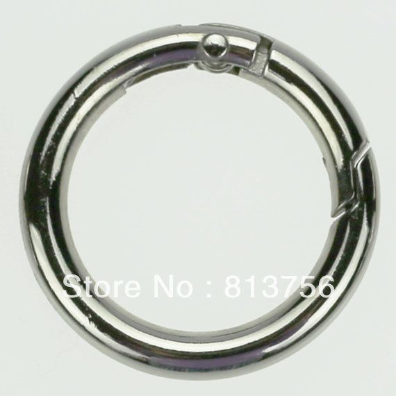 70 Nickel Plated Gate Spring O-Ring 1 inch Round Push Snap Hooks for Purses and Handbags