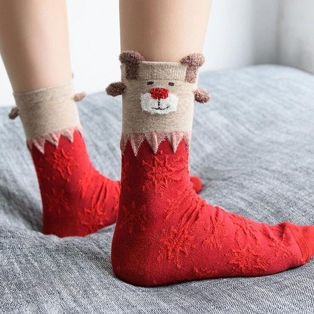 Random Color Fashion 1pair Female Women  Christmas Deer Design Casual Knit Wool Socks Warm Autumn And Winter Women