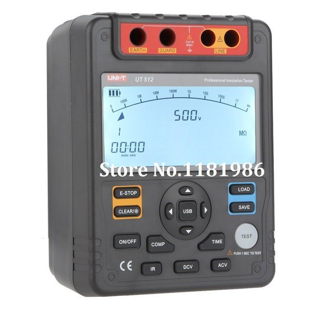 UNI-T UT512 Digital Insulation Resistance Tester Meter Megohmmeter Low Ohm Ohmmeter Voltmeter Auto Range 2500v Usb Interface ohm