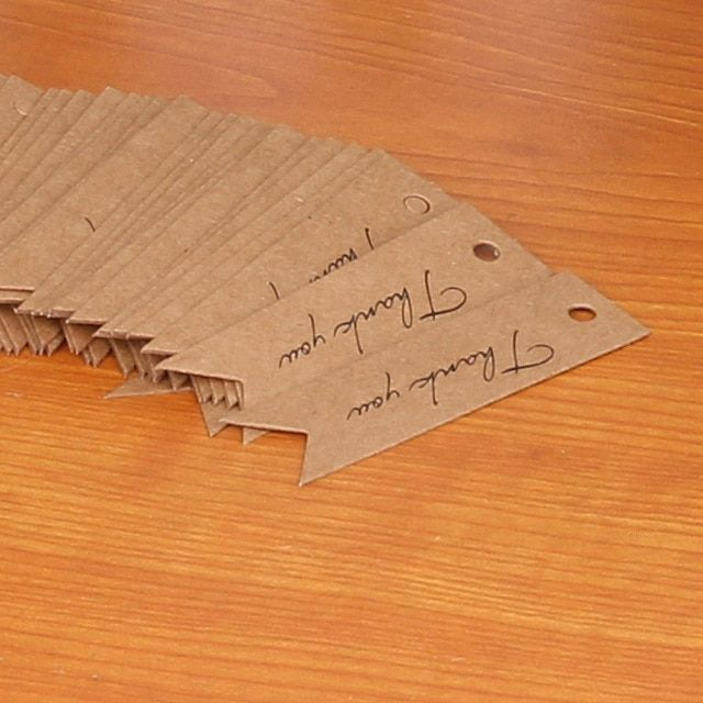100pcs Thank you Letter Kraft Paper Wedding Favor Gift Hang Label for Party & Price Showing Brown Black White