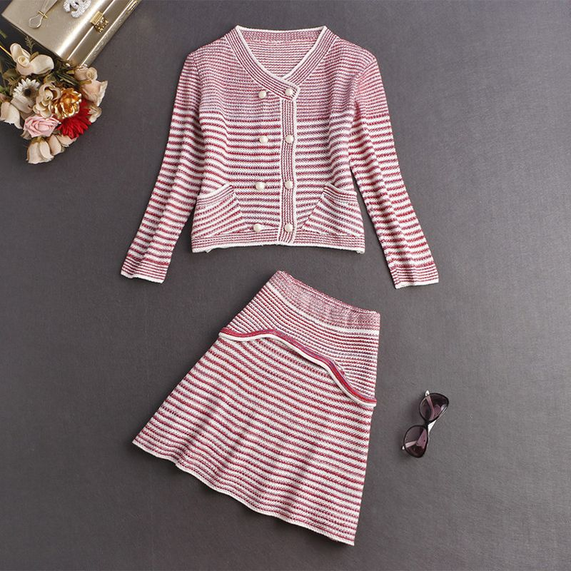 Knitted 2 Piece Set Women Cardigan sweater And Elegant Skirt 2016 Runway Mini Skirts Suits Autumn Winter Skirt Sets