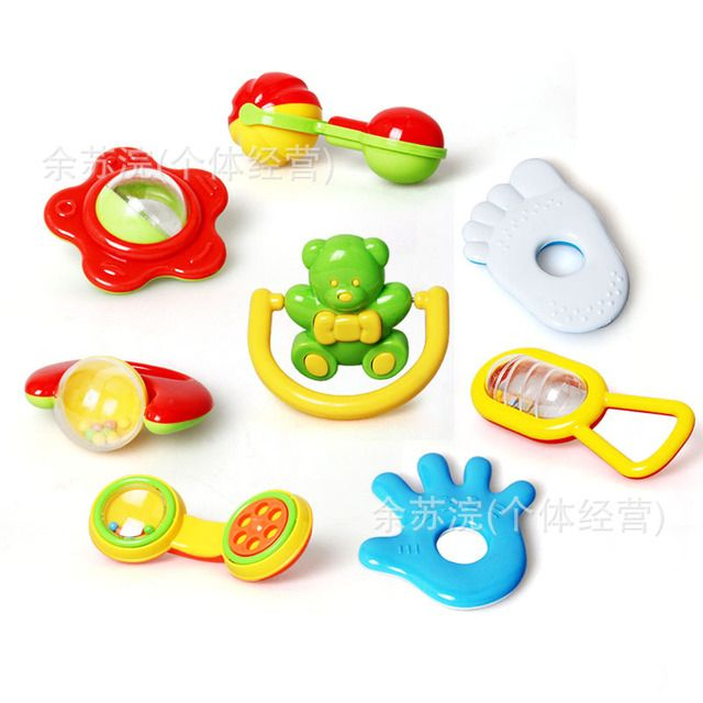 8pcs Happy Animal Newborn Infant Baby Soft Toys Baby Rattle Tinkle Hand Bell For Tots Plush Mobiles In Baby Bed/Crib Stroller