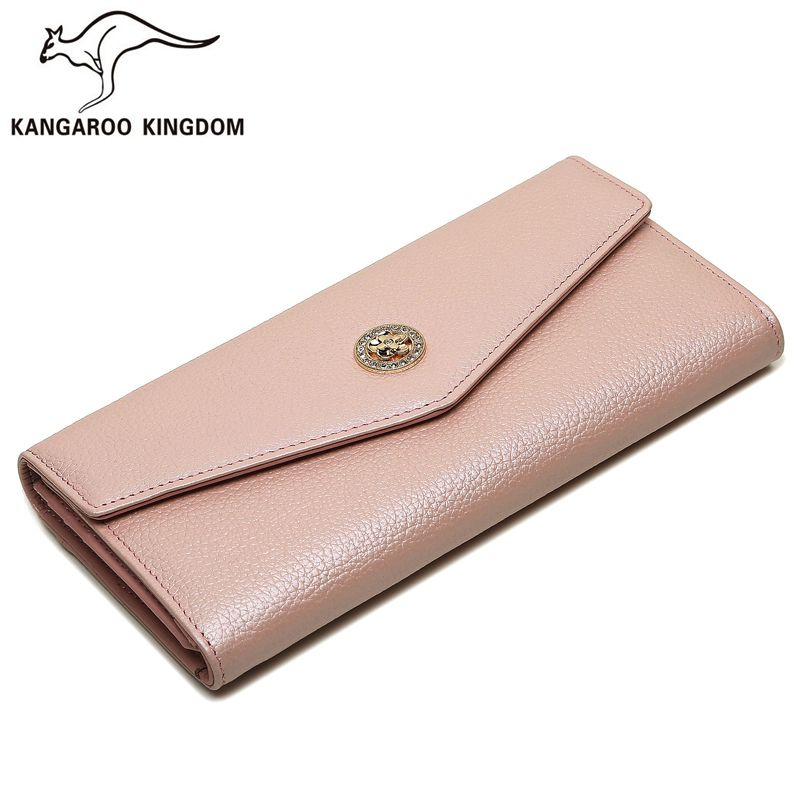 Kangaroo Kingdom Famous Brand Women Wallets Long Split Leather Designer Trifold Wallet Fashion Lady Clutch Purse