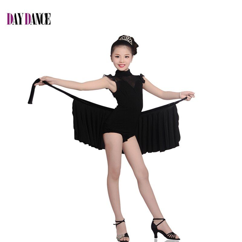 Professional Girls Two-Piece Suit High Neck Leotard Lace Skirt Child Kid Elegant Black Performance Competition Latin Dance Dress