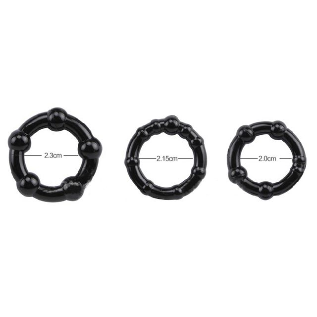 New Set (3pcs) Stay Hard Beaded Triple Time Delay Penis Rings Penis Enlargement Cock Rings Medical Silicone Black Man Sex Toys