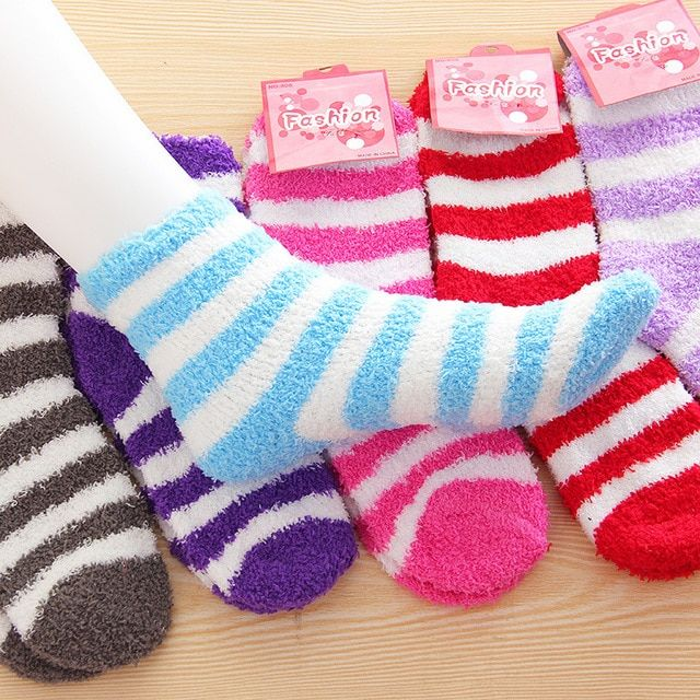Free Shipping 5Pairs/Lot Winter Warm Socks For Women High Quality Towel Warm Fuzzy Socks Candy Color Thick Floor Thermal Socks