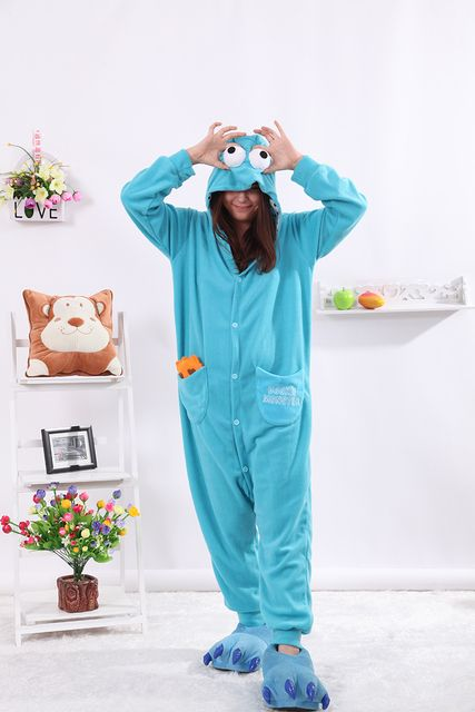 Kigurumi Cartoon Blue Cookie Monster Onesies Adult Pajamas Animal Christmas Sleepwear Cosplay Costumes Unisex Sleepsuit Pyjamas