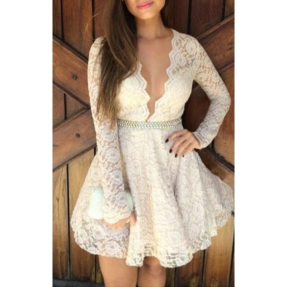 2015  Women Deep v sexy laceSexy Long Sleeve Cocktail Party Lace Mini Dress stitching flesh lining dress DM#6