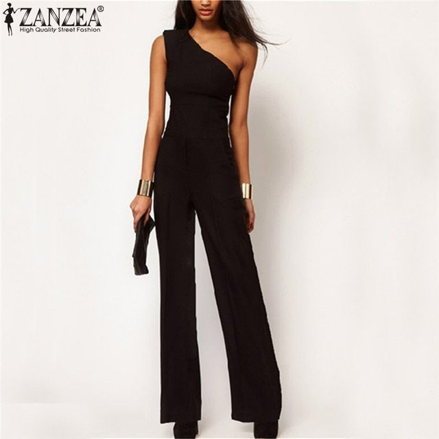 2017 Summer Style Black Chiffon Women Long Rompers Jumpsuit Sexy One Shoulder Off Empire Club Party Playsuits Overalls Macacao