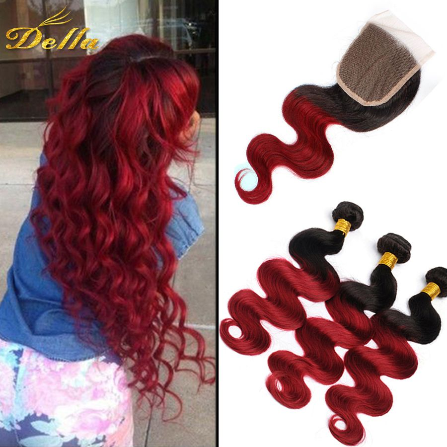 Cheap 3 Bundles Ombre Brazilian Hair With Closure Brazilian Virgin Hair With Lace Closure Brazilian Human Hair Extensions Weave