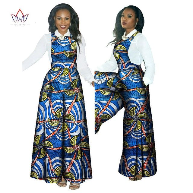 2017 New style african print jumpsuit overall sleeveless wide leg loose jumpsuit and a white shirt for women 2 pieces set  WY482