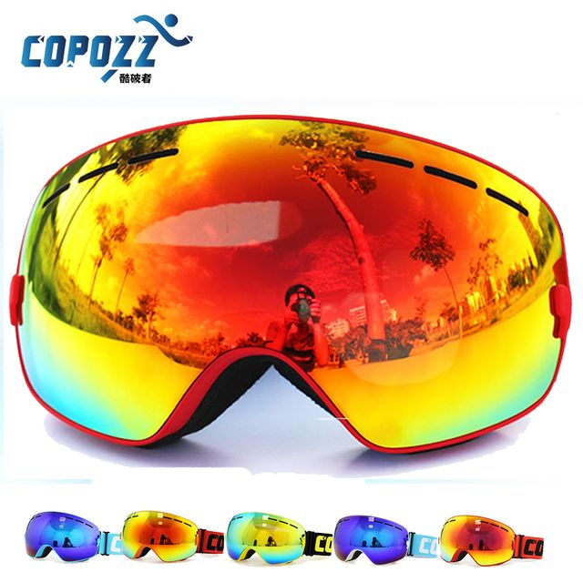 Brand COPOZZ Ski Goggles Double Lens UV400 Anti-fog Big Ski Mask Glasses Skiing Men Women Snow Snowboard Goggles GOG-201