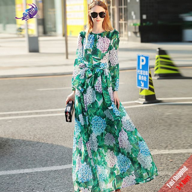High Quality 2017 Runway Dress Women's Fashion Green Hydrangea Flora Print Full Sleeve Button Long Bohe Dress Fast Express Free