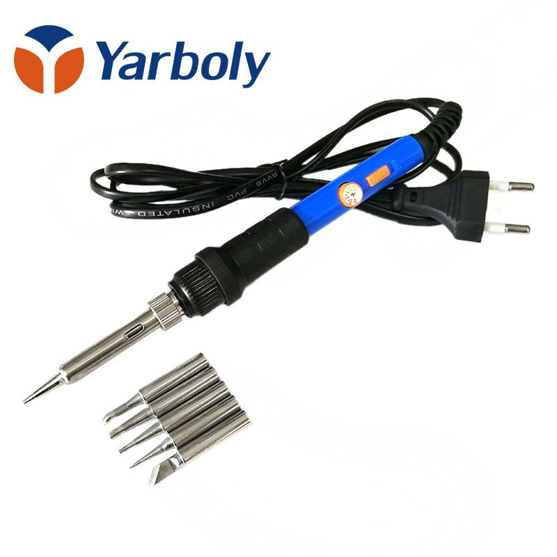 Electrical Soldering Iron Hand Welding Rework Repair Tool Adjustable Temperature Soldering Gun 5pcs Solder Tip EU Plug 220V 60W