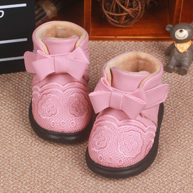 New flower Infant Toddler Princess Girls Winter Super Warm Woolen bow Shoes Newborn Baby girl Soft Soled Boots Booties