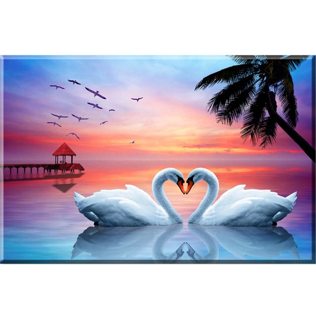 Hot !!! Diy Full Square Diamond Embroidery Lover Swan White Decorative Pictures Framed Painting Handmade Crafts Shine Rhinestone