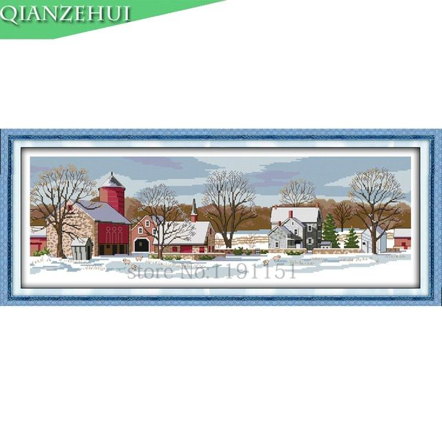 QIANZEHUI,Needlework,DIY Northern scenery Cross stitch,Sets For Embroidery kits Country town Cross-Stitching,Wall Home Decro