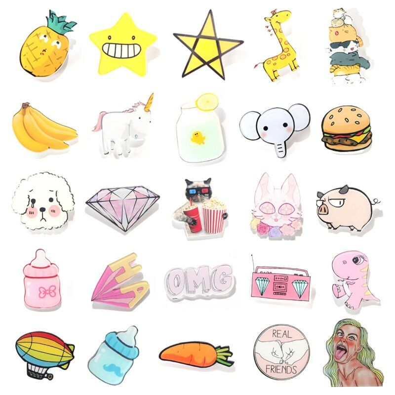 1 PC Fruit and Animal Acrylic Badges  Icons on The Backpack Badges for Clothing Kawaii Badge Pin Brooch