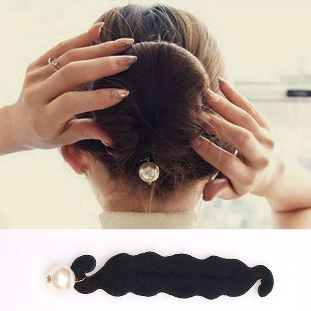 DIY Big Simulated Pearl Hair Bun Styling Tools Roller Black Barrette For Women Hair Accessories