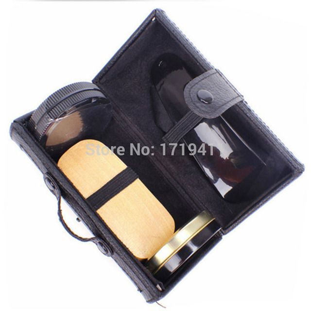 High Quality 5 Pieces Professional Shoe Care Tool Black & Neutral Shoe Shine Polish Cleaning Smooth Wooden Brushes Set PO-014