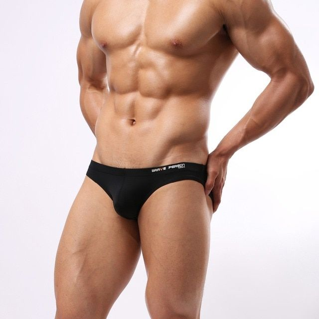 B1129 Brand Men's Sportswear Nylon Smooth Briefs Sexy Bikini low rise Underwear Spandex Briefs Brave Person