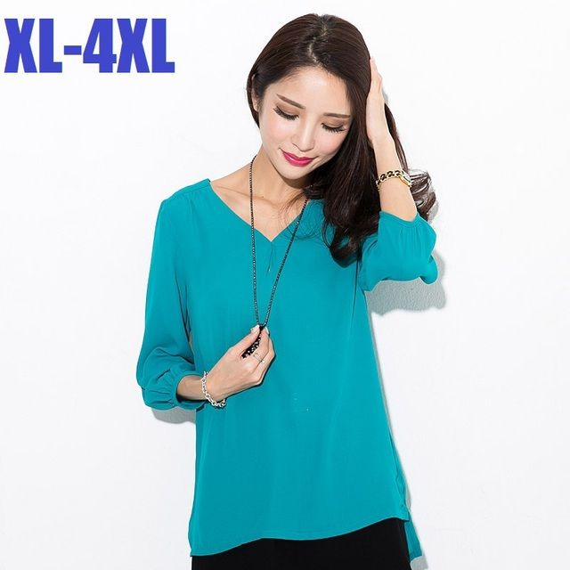 2015Women summer elegant chiffon t shirt V neck Short in front long three quarter sleeve loose casual  plus size topsXXXXL