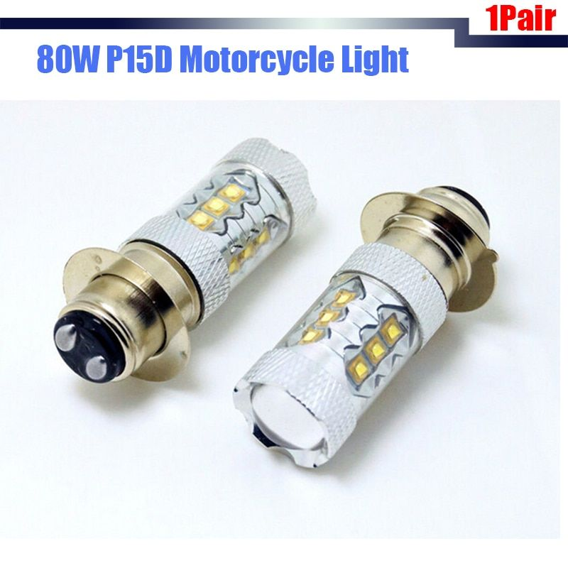 Cawanerl 1Pair 80W P15D H6M LED Bulbs White 12V DC Motorcycle Motorbike Headlight Fog Lamp DRL
