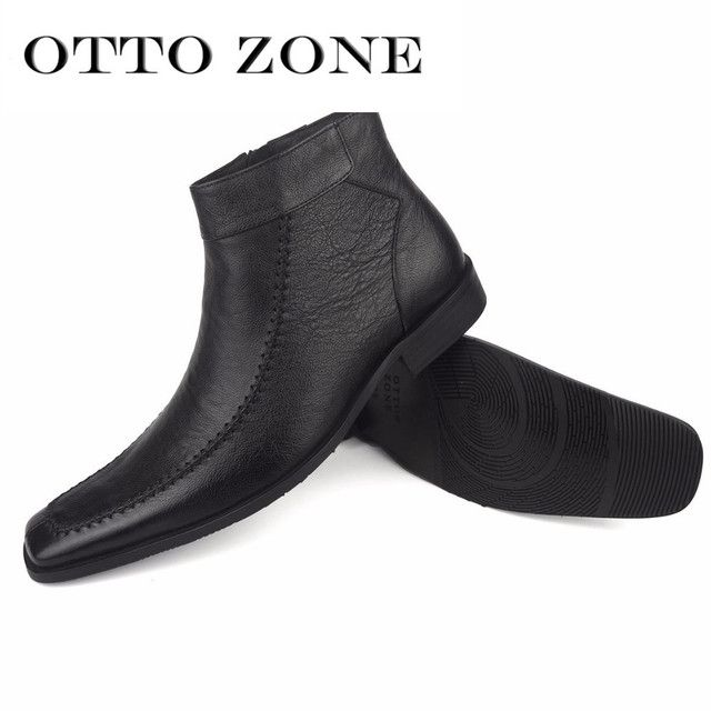 OTTO ZONE Men's Chelsea Boots Handmade Genuine Leather Ankle Boots Oxford Casual Vintage Designer Casual Shoes PLUS SIZE