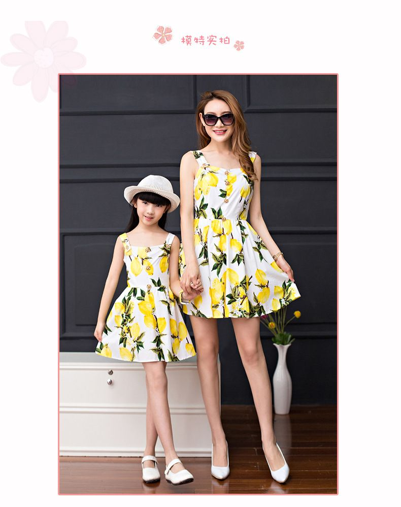2016 summer mother and daughter dress clothes lemon matching mother daughter clothes outfit family clothing family beach dresses