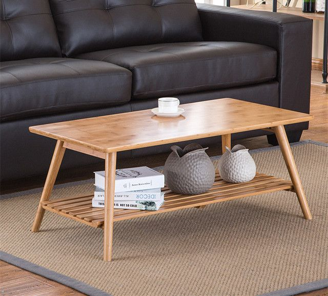 Modern Bamboo Table Legs Foldable Natural Finish Living Room Bamboo Furniture Rectangle Coffee Center Table With Storage Shelf