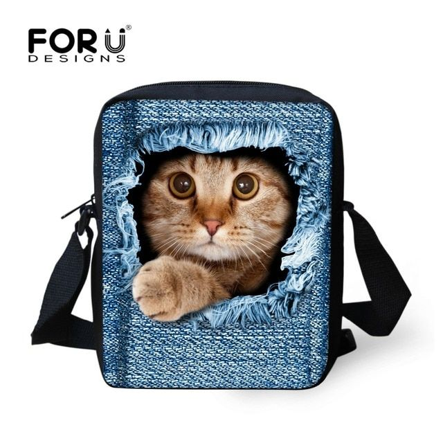 FORUDESIGNS Preppy Style Children School Bag Blue 3D Cat Dog Denim Kids Schoolbag For Kindergarten Girls Boys Mochila Infantil