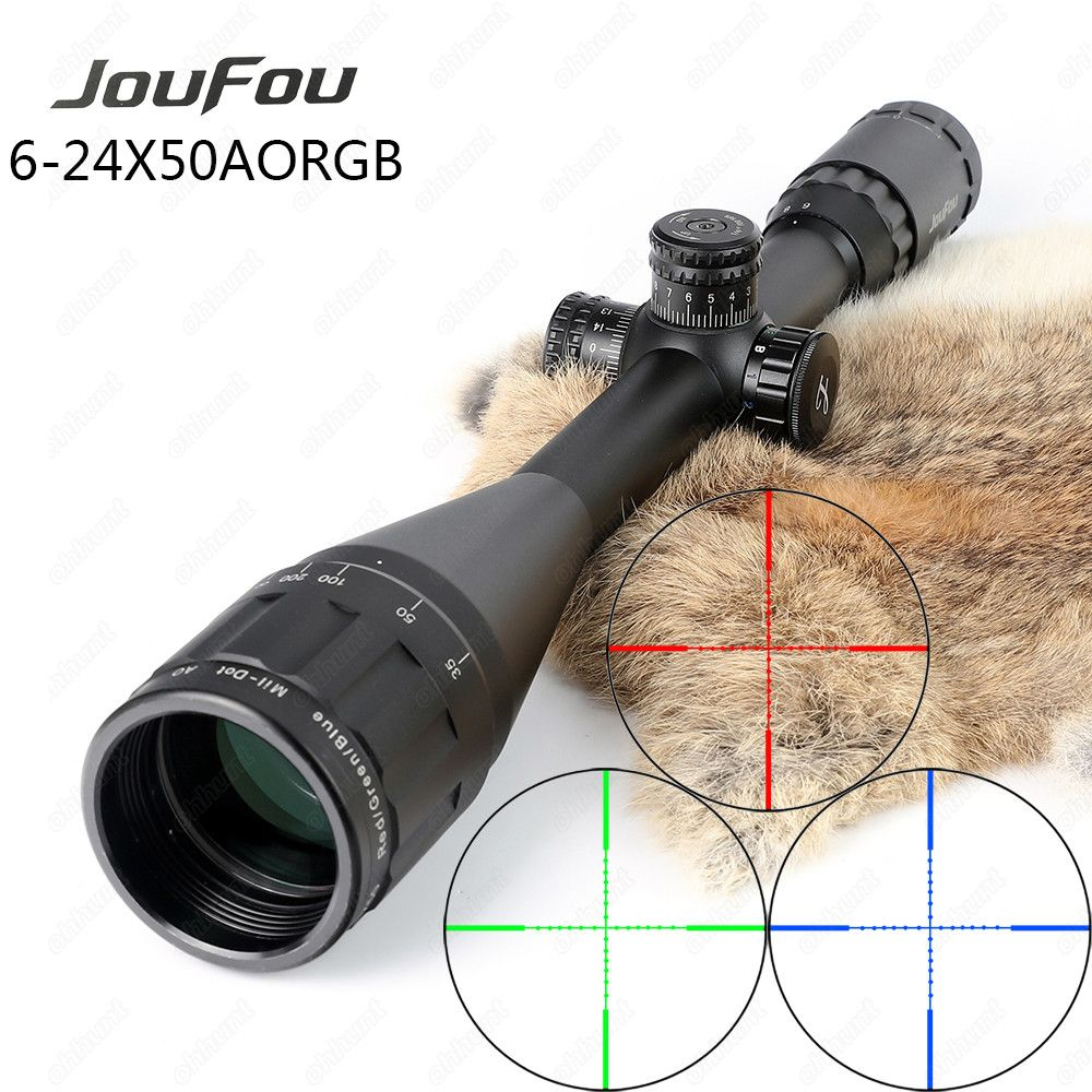 JouFou 6-24X50 AO 1 inch Hunting Rifle Scope Full Size Tactical Optical Sight Illuminated Mil Dot Locking Resetting Riflescope