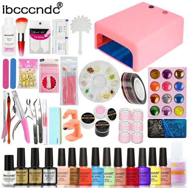 Nail Art Set Manicure Tools Kit 36W UV Lamp + 10 Color 10ml Nail Polish Base and Top Flower UV Gel with Glitters Decals Nail Art
