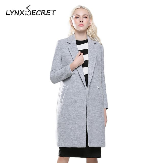Women's Woolen Blends long Coats V-neck classic Grey warm jackets side pockets single Button Pockets female parkas