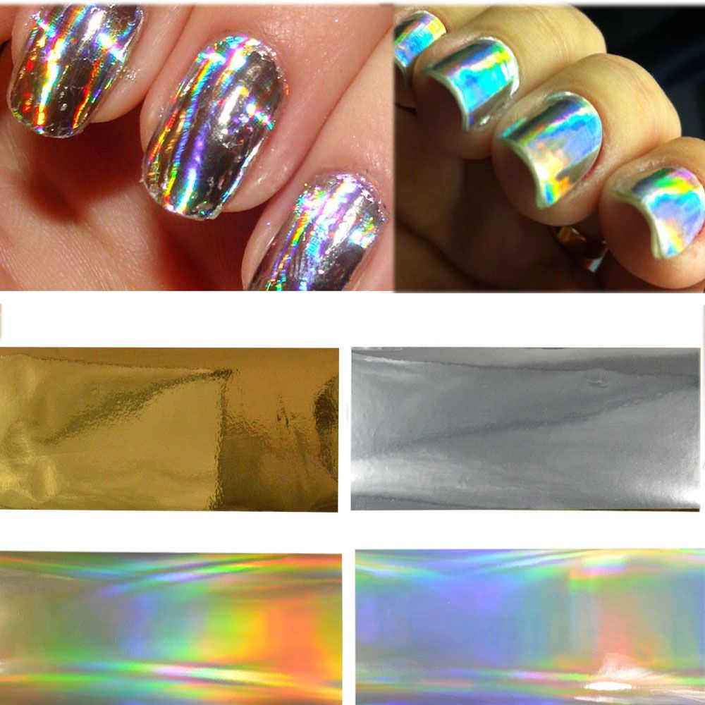 4 designs/sets, Gold/Silver Laser Designs Full Cover Glitter Glue Adhesive Sticker Wraps Nail Art Transfer Foils DIY Craft NC271