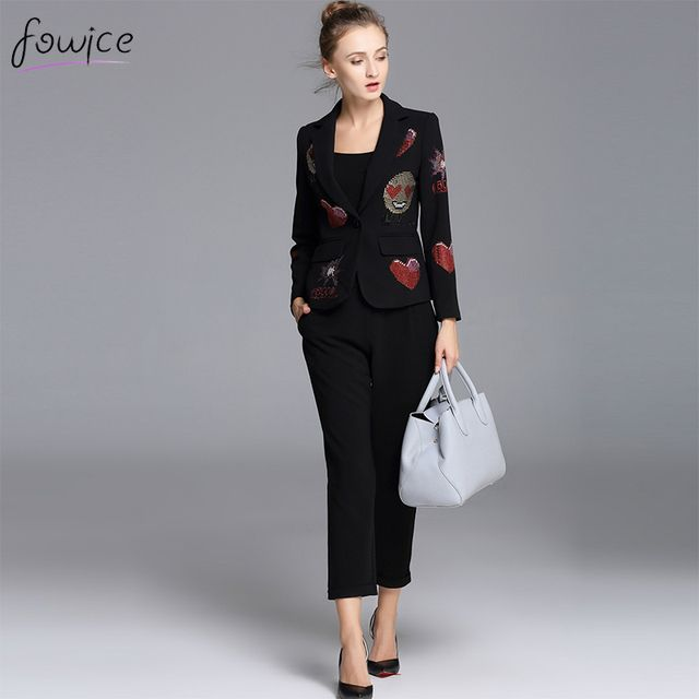 2016 New Arrival Fashion 2 Piece Women's Suit Full Sleeve V_neck Beading Short Tops + Ankle-Length Pants Black Office Famale Set