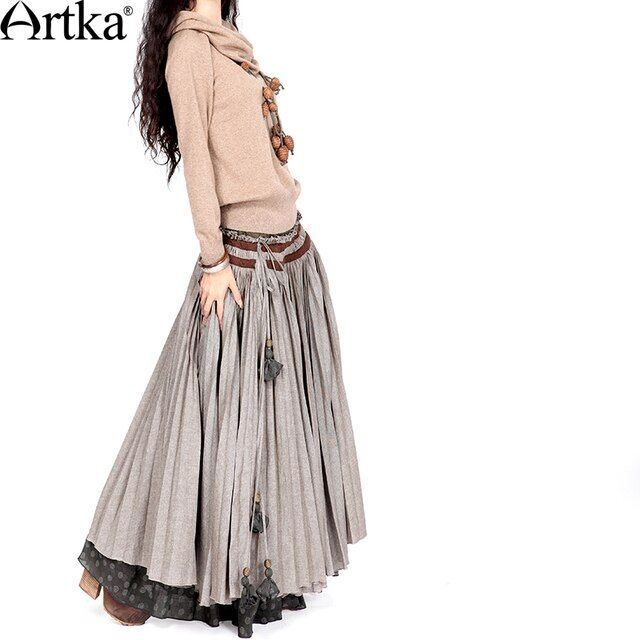 Artka Women's Winter New All Match Pleated Embroidered Cotton Faux Two Piece Half-Length Maxi Skirt Q110053Q