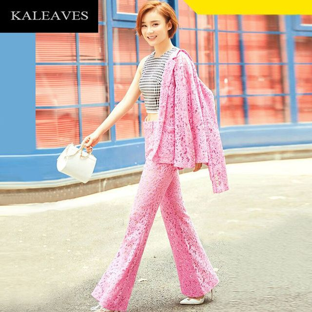 Runway Pink Lace Women's Suit 2016  Hollow Turn-down Collar Long Sleeve Tops + Full Length High-end Bell-Bottomed Pants Sets