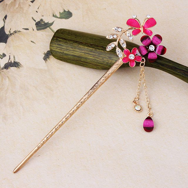 3 pieces / lot Vintage Rhinestones Drop Oil Butterfly Flowers Chain Hair Stick Pins Hairpins for Women Girls Hair Accessories